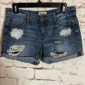 Mudd Distressed Rolled Up Denim Shorts